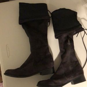 Dark Gray Suede Over the Knee Boots